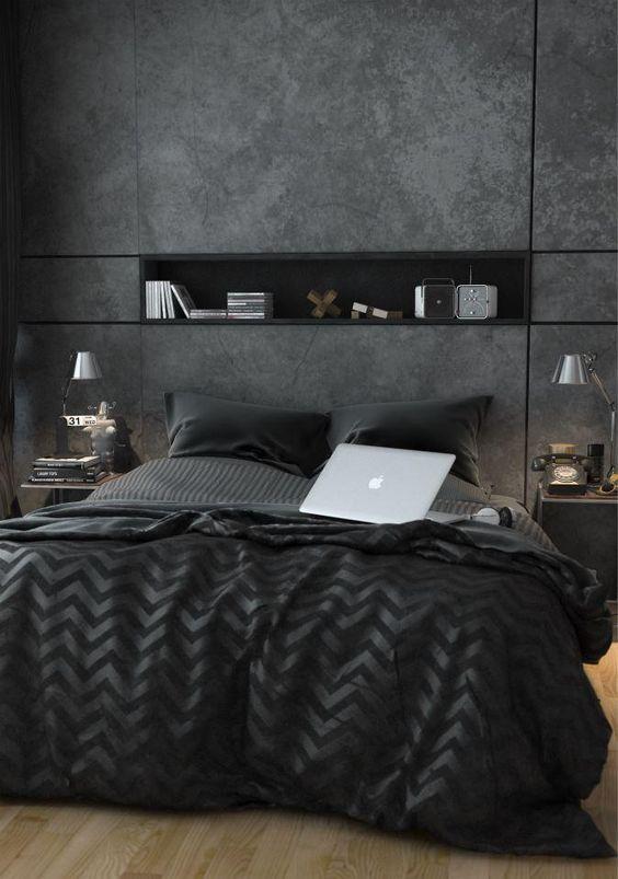 modern dark bedroom