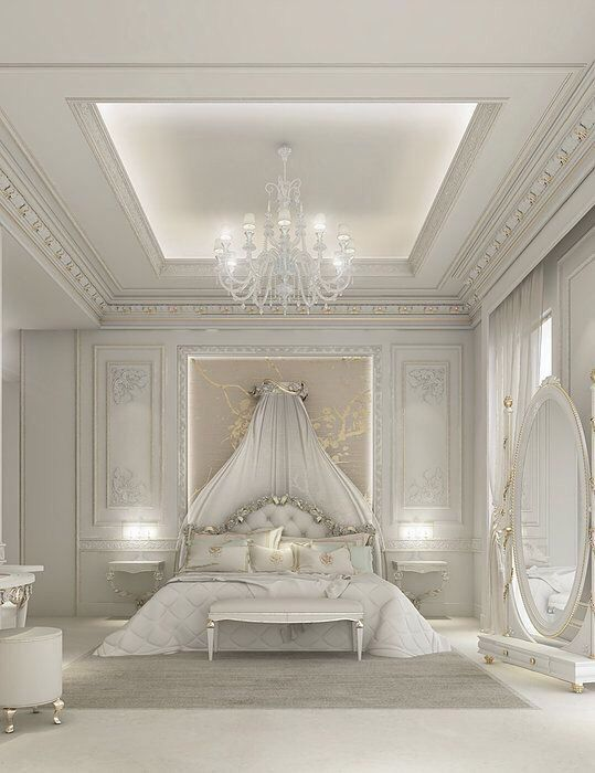 silvery luxurious bedroom