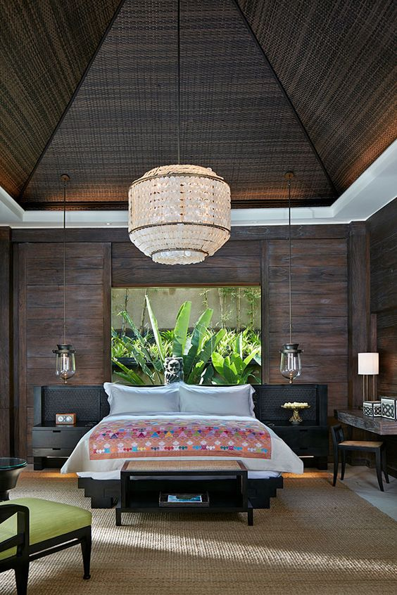 luxurious tropical themed bedroom