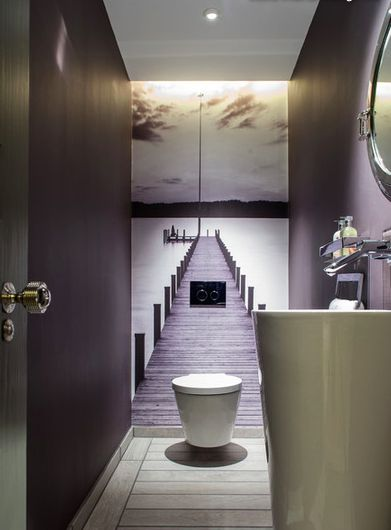 mauve modern powder room