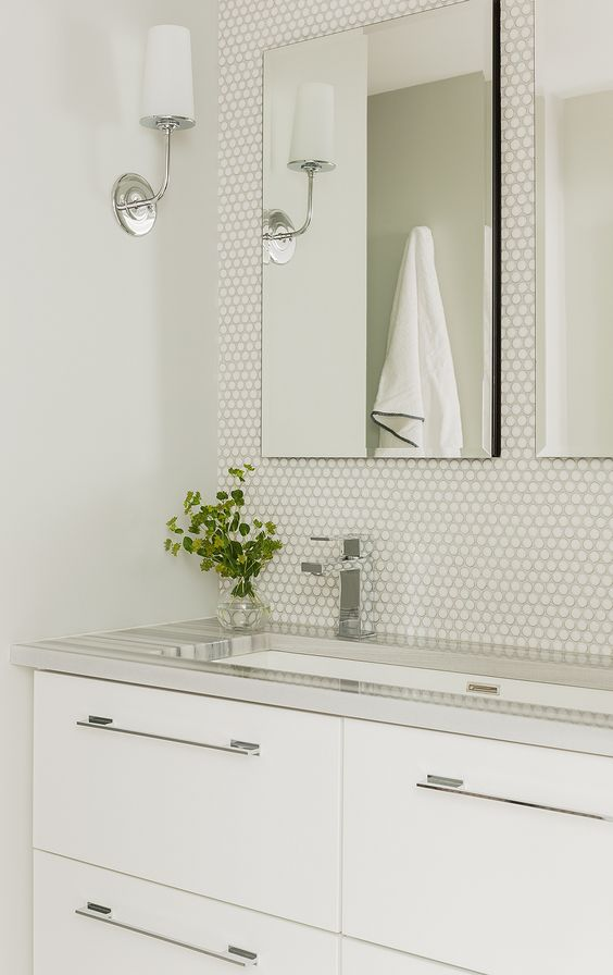 modern all-white powder room