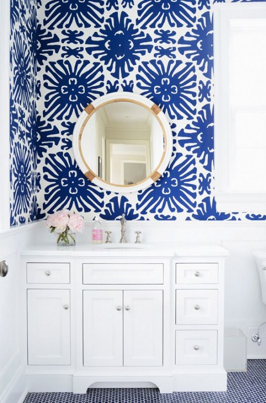 blue and white powder room