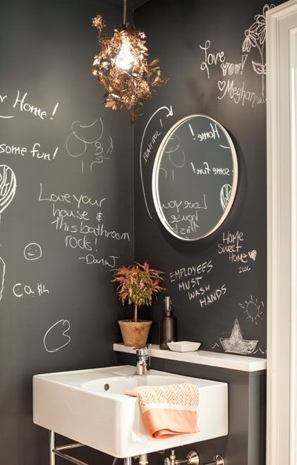 powder room with chalkboard walls