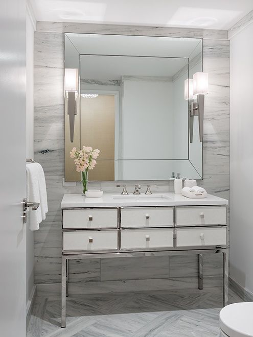 classically elegant powder room