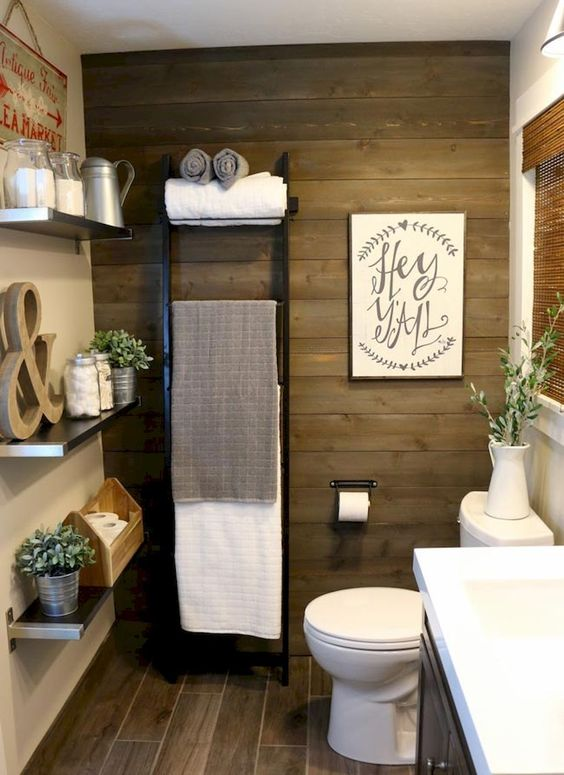 charming farmhouse powder room