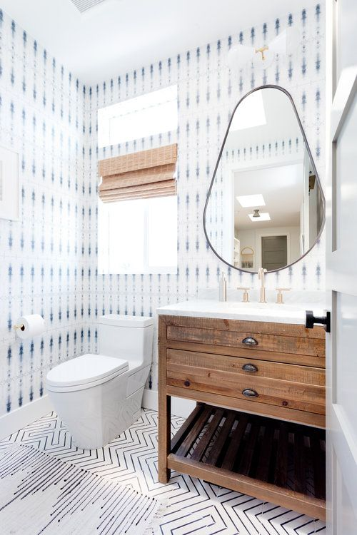 modern white powder room