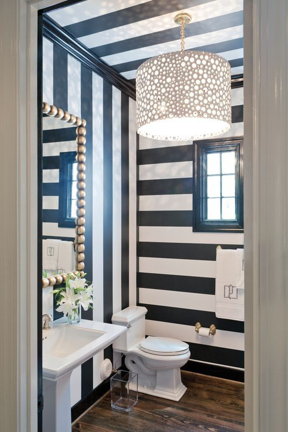 retro styled powder room