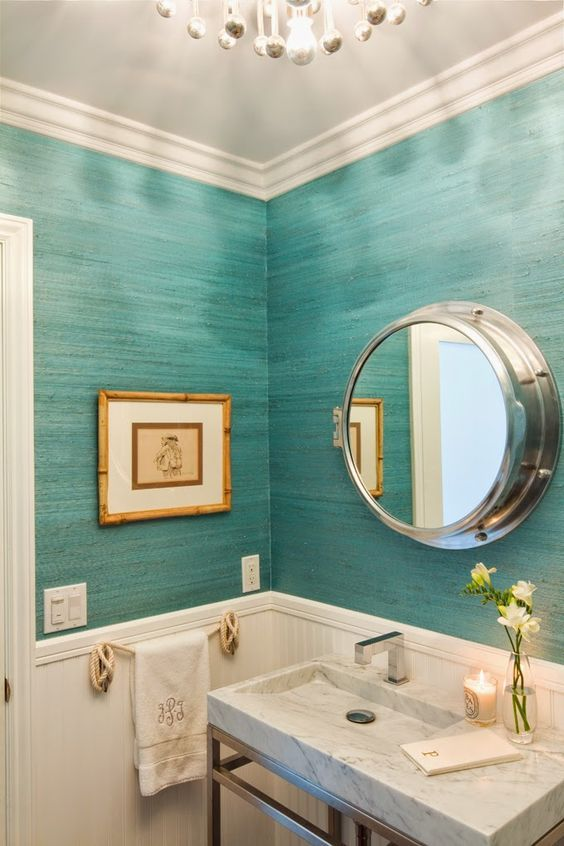 maritime themed powder room