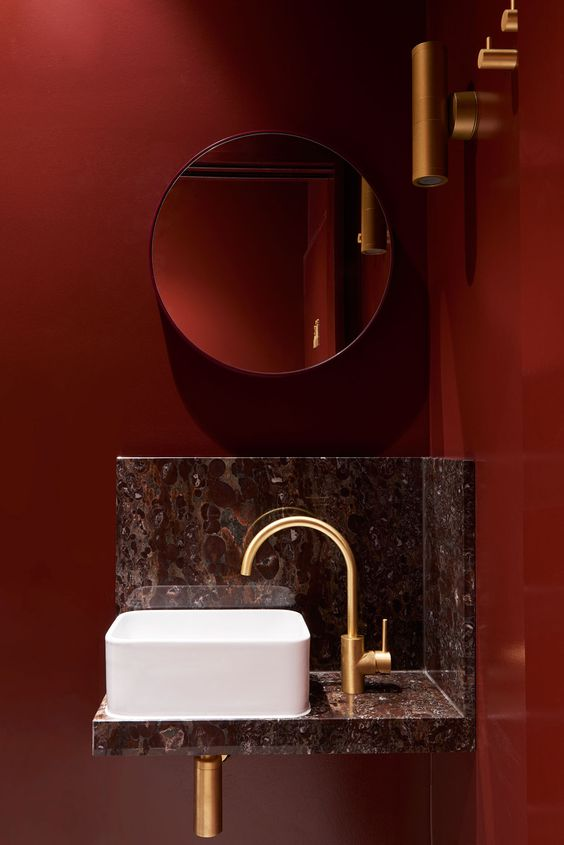dark red powder room