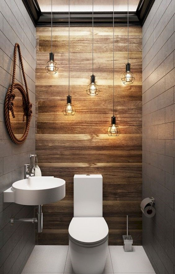 very rustic powder room