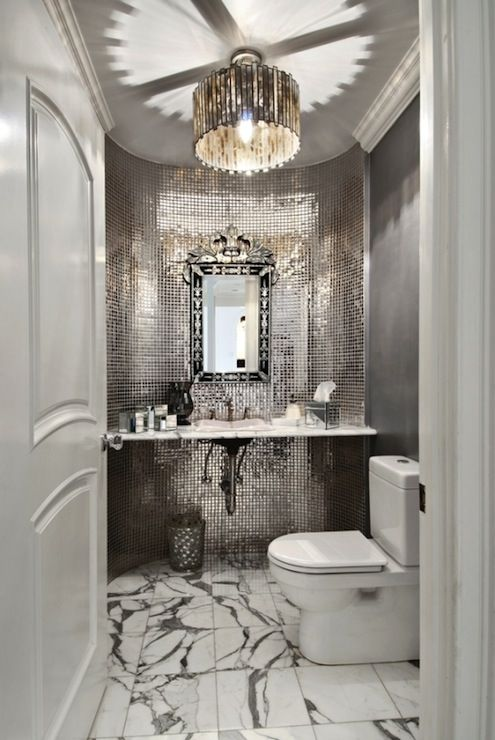 white luxurious powder room