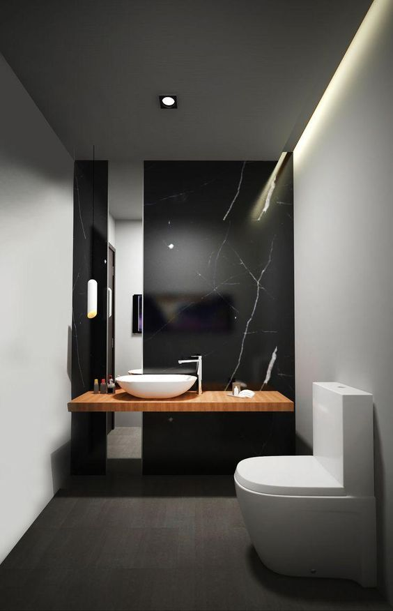 black marbled powder room