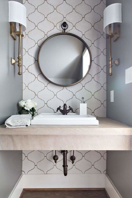 modern Moroccan powder room