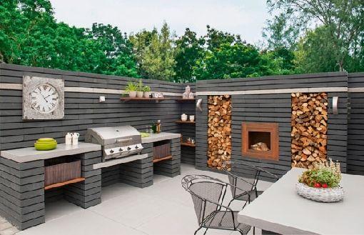 contemporary outdoor kitchen