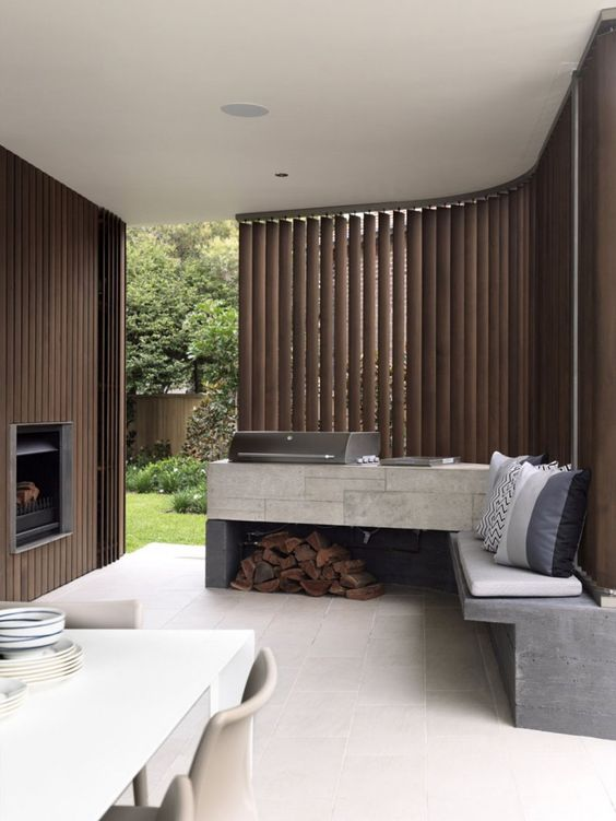 outdoor kitchen with shades