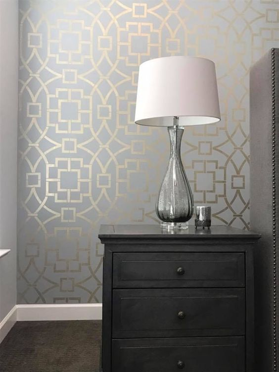 stenciled grey wall