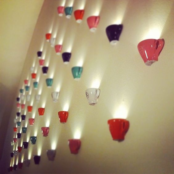 wall lighted teacups