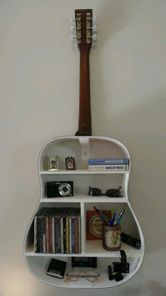 recycled guitar wall feature