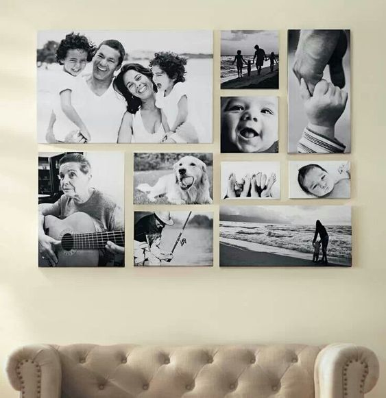 framed photos on the wall