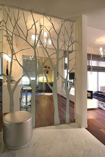mirror wall with tree decals