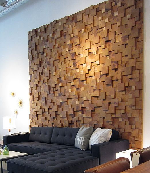 wood squares wall feature