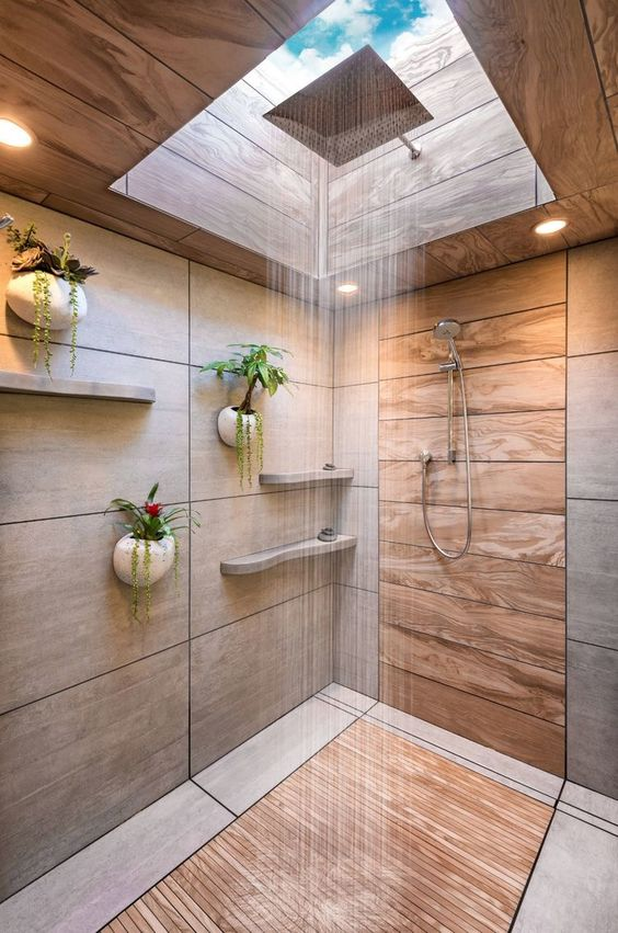shower with skylight