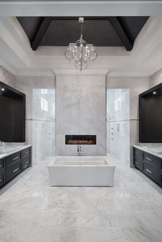 elegant bathroom with fireplace