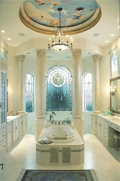bathroom with ceiling painting