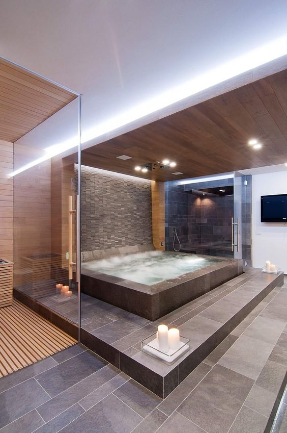 luxurious bathroom with a jacuzzi