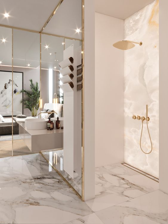 gold and marble bathroom