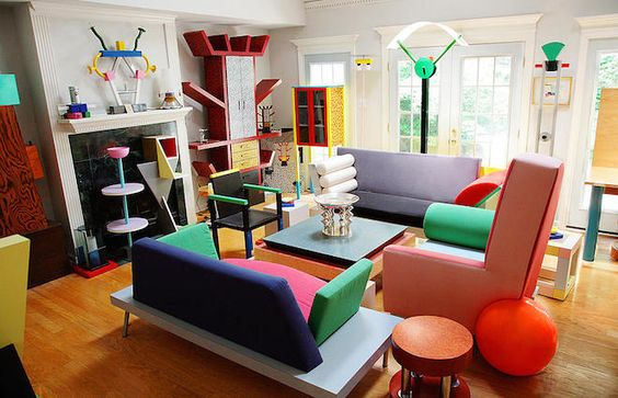 colorful maximalist living room