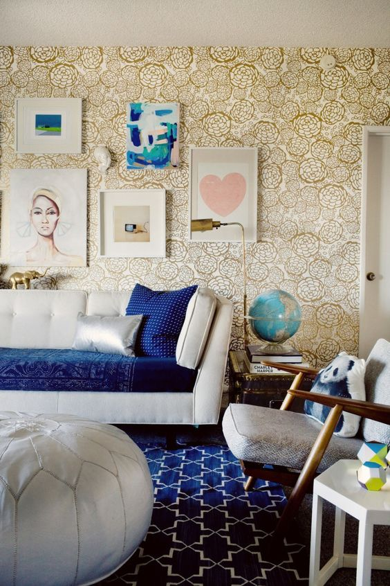 blue and gold maximalist