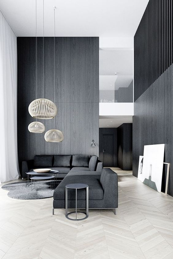 grey minimalist living room