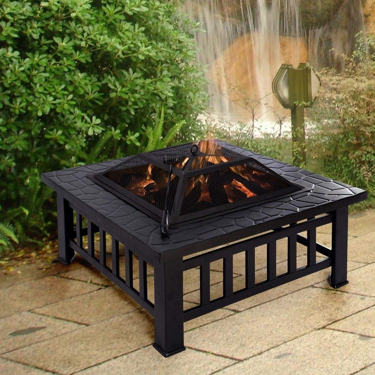 black steel outdoor fire pit