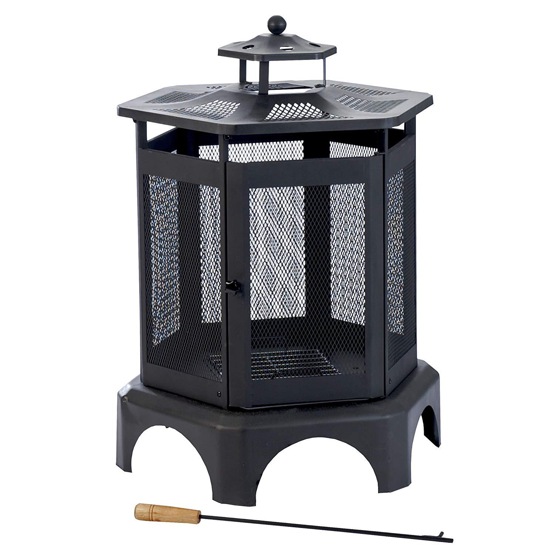 black hexagon portable fireplace