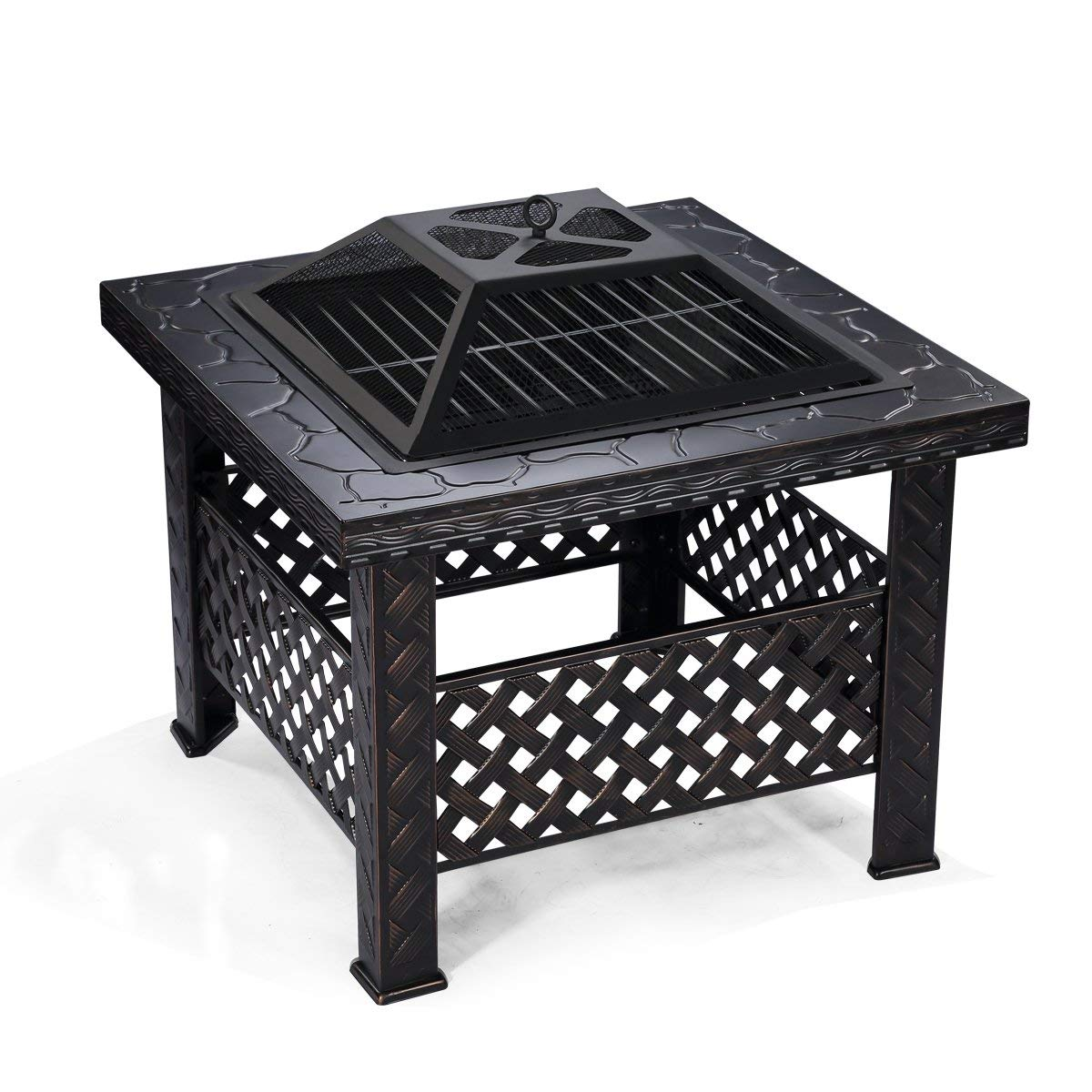 square outdoor grill and fire pit