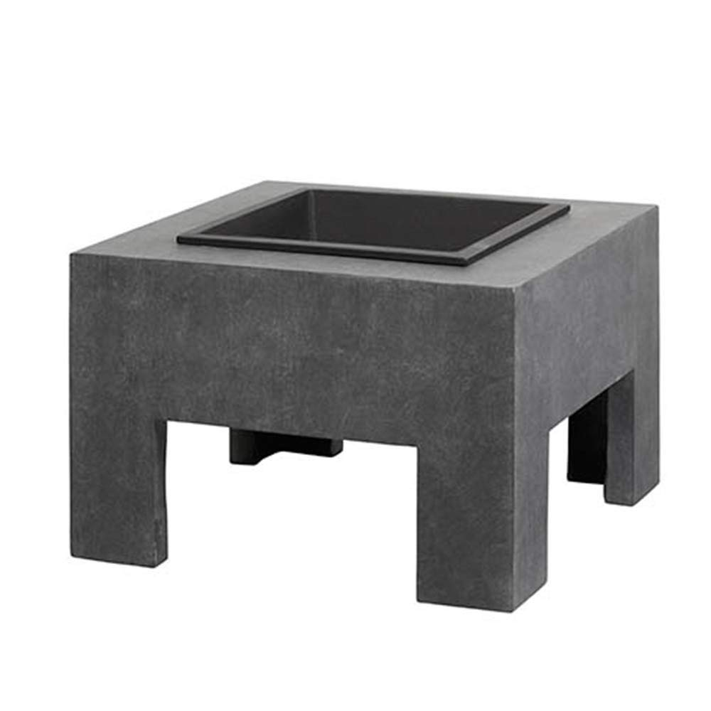 square grey patio fire pit