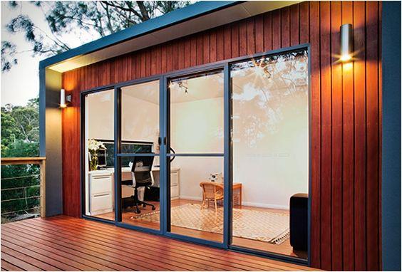 backyard office with glass doors