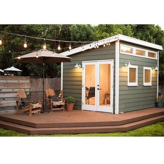 backyard office with deck