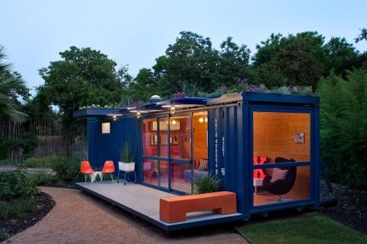 shipping container turned home office