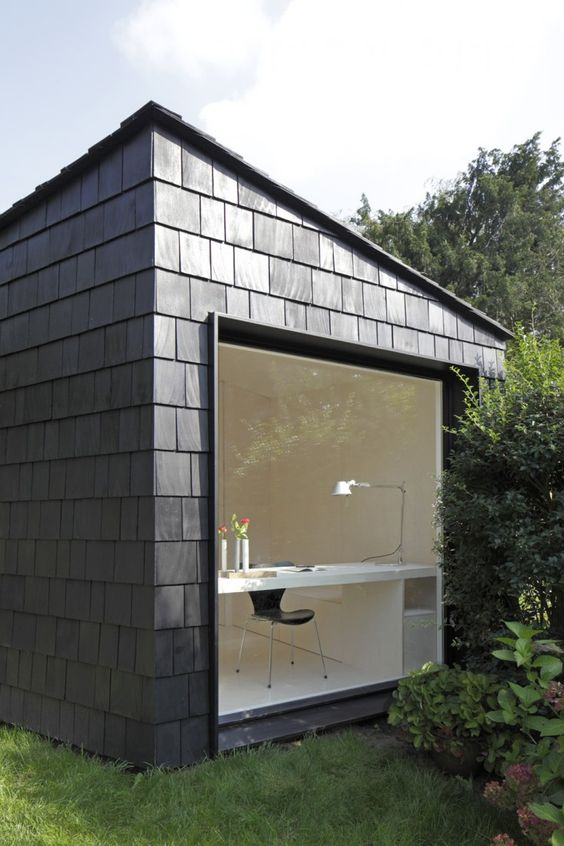 shingled backyard office