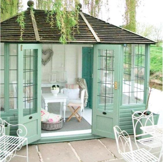 green and white garden office