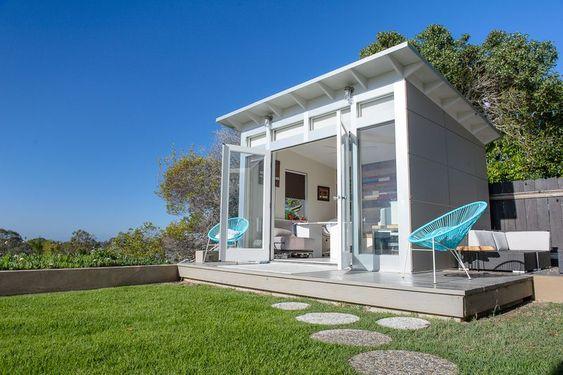 white modern backyard home office