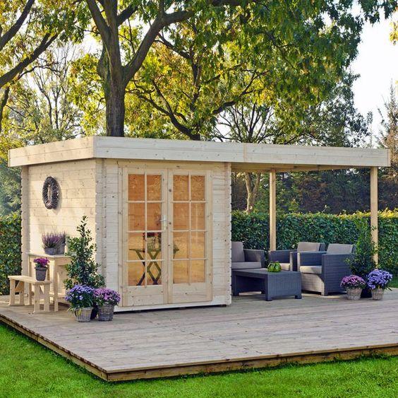 natural wood backyard office