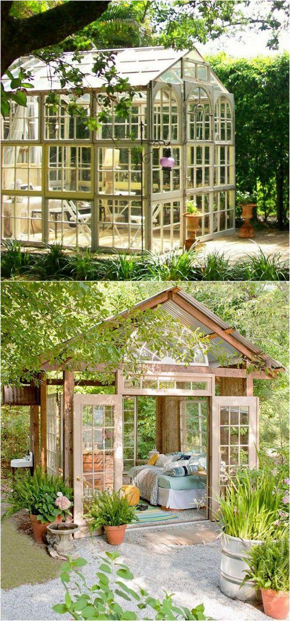 glass-walled backyard office