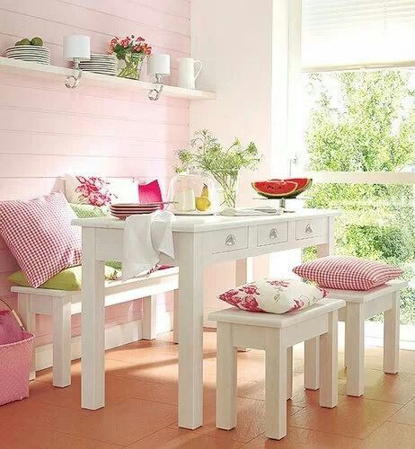 pastel farmhouse dinette