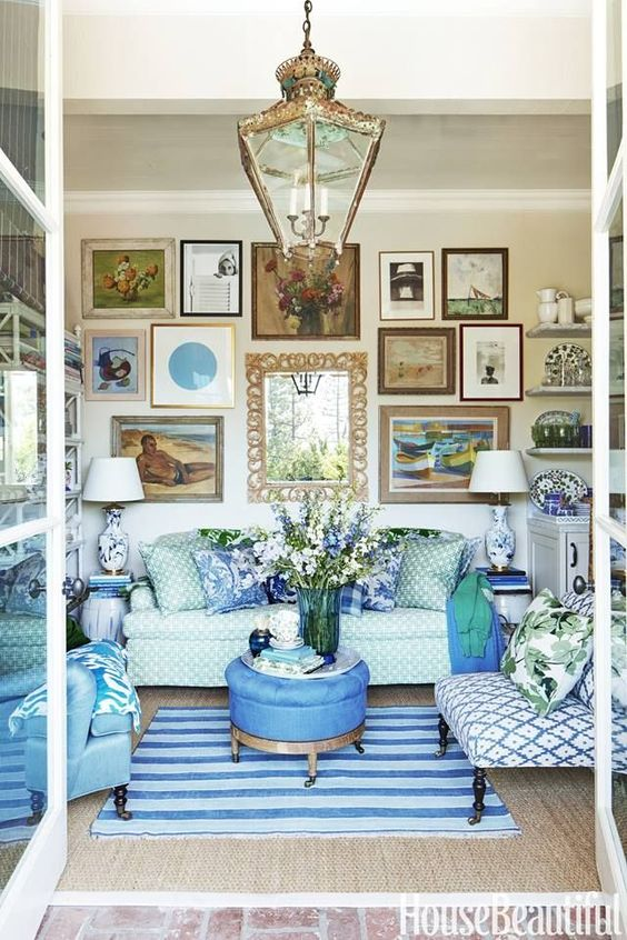 blue chinoiserie family room
