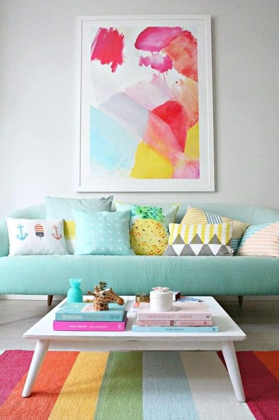 pastel themed family room
