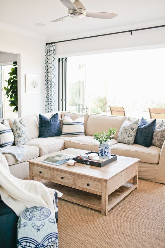 blue and beige family room