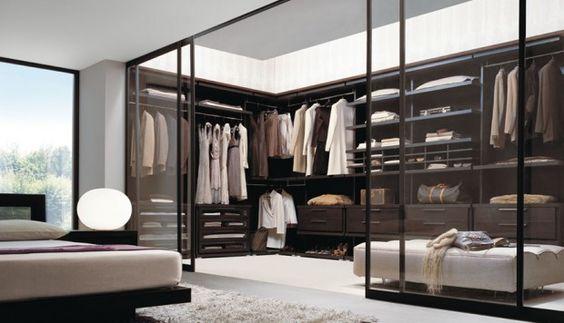 modern glass-walled closet